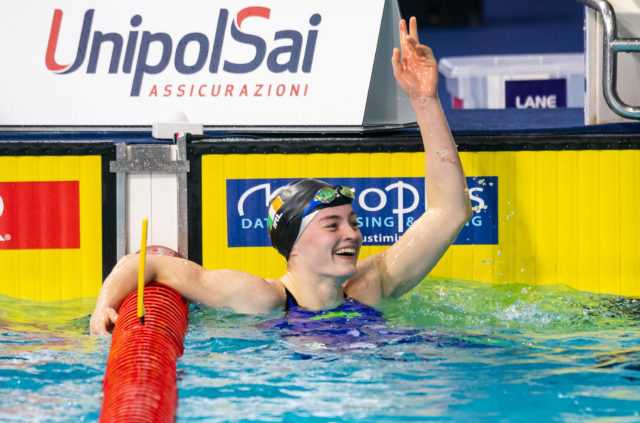 Mona McSharry after qualifying for the Final of the 100m Breaststroke in a new Irish Senior Record at the European Short Course Championships in Glasgow. Photo Credit: David Kiberd.